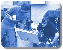 David Axelrod and Pdero Wyant at a Capitol Records session for Song Of Innocense 1968